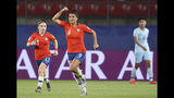 Chile's Maria Urrutia, center, celebrates after scoring her side's second goal during the Women's World Cup Group F soccer match between Thailand and Chile at the Roazhon Park in Rennes, France, Thursday, June 20, 2019. (AP Photo/David Vincent)