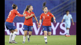 Chile's Rocio Soto, Yanara Aedo and Javiera Grez, from left to right, celebrate their first goal during the Women's World Cup Group F soccer match between Thailand and Chile at the Roazhon Park in Rennes, France, Thursday, June 20, 2019. (AP Photo/David Vincent)