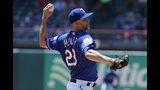 Texas Rangers starting pitcher Mike Minor (23) throws to the Cleveland Indians in the first inning of a baseball game in Arlington, Texas, Thursday, June 20, 2019. (AP Photo/Tony Gutierrez)