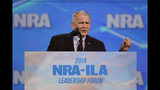 "FILE- In this April 26, 2019 photo, Nation Rifle Association President Col. Oliver North speaks at the National Rifle Association Institute for Legislative Action Leadership Forum at Lucas Oil Stadium in Indianapolis. On Wednesday, June 20, 2019, the NRA filed suit against North for what it called ""conduct harmful to the NRA."" The lawsuit said that North ""departed office after a widely publicized, failed coup attempt."" (AP Photo/Michael Conroy, File)"