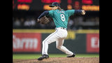 Seattle Mariners starter Mike Leake delivers a pitch during the fifth inning of the team's baseball game against the Baltimore Orioles, Friday, June 21, 2019, in Seattle. The Mariners won 10-9. (AP Photo/Stephen Brashear)