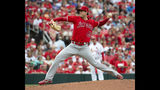 Los Angeles Angels starting pitcher Tyler Skaggs throws a pitch during first inning of a baseball game against the St. Louis Cardinals Sunday, June 23, 2019, in St. Louis. (AP Photo/L.G. Patterson)