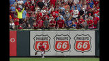 Los Angeles Angels right fielder Kole Calhoun plays a fly ball off the wall during the eighth inning of a baseball game against the St. Louis Cardinals, Sunday, June 23, 2019, in St. Louis. (AP Photo/L.G. Patterson)