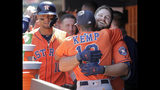 Houston Astros' Tyler White, right, celebrates his grand slam in the dugout during the fourth inning of a baseball game against the New York Yankees at Yankee Stadium, Sunday, June 23, 2019, in New York. (AP Photo/Seth Wenig)