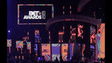 FILE - This June 24, 2018 file photo shows a view of the stage at the BET Awards in Los Angeles. Regina Hall will host the show, which is being held Sunday, June 23, 2019, at Los Angeles' Microsoft Theater and will feature performances by Cardi B, DJ Khaled, Migos, H.E.R., Lizzo, Lil Nas X and Billy Ray Cyrus. (Photo by Richard Shotwell/Invision/AP, File)