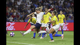 France's Amandine Henry scores her side's 2nd goal during the Women's World Cup round of 16 soccer match between France and Brazil at the Oceane stadium in Le Havre, France, Sunday, June 23, 2019. (AP Photo/Francisco Seco)