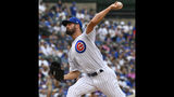 Chicago Cubs starting pitcher Cole Hamels (35) delivers during the first inning of a baseball game against the New York Mets Sunday, June 23, 2019, in Chicago. (AP Photo/Matt Marton)