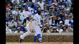 Chicago Cubs' Javier Baez (9) hits a three run home run during the eighth inning of a baseball game against the New York Mets Sunday, June 23, 2019, in Chicago. (AP Photo/Matt Marton)