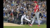 Cincinnati Reds starting pitcher Anthony DeSclafani reacts after giving up a home run to Milwaukee Brewers' Travis Shaw during the third inning of a baseball game Sunday, June 23, 2019, in Milwaukee. (AP Photo/Morry Gash)