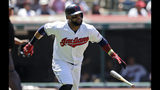 Cleveland Indians' Carlos Santana watches his ball after hitting a solo home run in the fifth inning in a baseball game against the Detroit Tigers, Sunday, June 23, 2019, in Cleveland. (AP Photo/Tony Dejak)