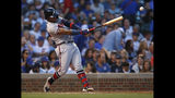 Atlanta Braves' Ronald Acuna Jr. hits a single against the Chicago Cubs during the fourth inning of a baseball game Monday, June 24, 2019, in Chicago. (AP Photo/Jim Young)