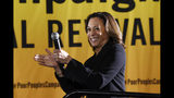 FILE - In this June 17, 2019, file photo, Democratic presidential candidate Sen. Kamala Harris, D-Calif., speaks at the Poor People's Moral Action Congress presidential forum in Washington. Harris is trying to find her missing ingredient: a clear rationale for her 2020 presidential campaign. (AP Photo/Susan Walsh, File)