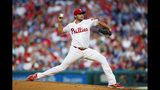 Philadelphia Phillies' Zach Eflin pitches during the third inning of a baseball game against the New York Mets, Monday, June 24, 2019, in Philadelphia. (AP Photo/Matt Slocum)