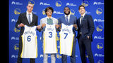 Golden State Warriors NBA basketball general manager Bob Myers, right, stands with draft picks Eric Paschall, Jordan Poole and Alen Smailagic during a media conference on Monday, June 24, 2019, in Oakland, Calif. (AP Photo/Noah Berger)