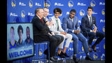 Golden State Warriors NBA basketball draft picks attend a media conference with team leaders Monday, June 24, 2019, in Oakland, Calif. From left to right, are: Warriors broadcaster Bib Fitzgerald, Alen Smailagic, Jordan Poole, Eric Paschall and general manager Bob Myers. (AP Photo/Noah Berger)