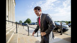 In this June 24, 2019, photo, acting Defense Secretary Mark Esper arrives at the Pentagon in Washington. Esper is heading to Europe to try to convince wary NATO allies to work with the Trump administration on Iran sanctions and security in the Middle East. His trip comes amid worries that the U.S. and the Islamic Republic may be on a path to war, even as the Trump administration ratchets up economic pressure on Tehran. (AP Photo/Andrew Harnik)