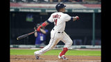 Cleveland Indians' Jose Ramirez watches his one-run double in the fourth inning in a baseball game against the Kansas City Royals, Monday, June 24, 2019, in Cleveland. Carlos Santana scored on the play. (AP Photo/Tony Dejak)
