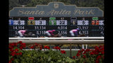 Horses finish the the first race during the last day of the winter/spring meet at the Santa Anita horse racing track Sunday, June 23, 2019, in Santa Anita, Calif. (AP Photo/Chris Carlson)