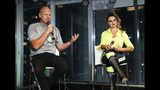 Aerialists Nik Wallenda, left, and his sister Lijana talk to the media during a news conference after their high wire walk above Times Square, Sunday, June 23, 2019, in New York. (AP Photo/Jason Szenes)