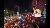 Ekrem Imamoglu, the candidate of the secular opposition Republican People's Party, CHP, talks to supporters from atop his campaign bus during a celebratory rally in Istanbul, late Sunday, June 23, 2019. The opposition candidate for mayor of Istanbul celebrated a landmark win Sunday in a closely watched repeat election that ended weeks of political tension and broke the long hold President Recep Tayyip Erdogan's party had leading Turkey's largest city. (Onur Gunay/Imamoglu Media team via AP)