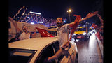 Supporters of Ekrem Imamoglu, the candidate of the secular opposition Republican People's Party, CHP, celebrate in central Istanbul, Sunday, June 23, 2019. In a blow to Turkish President Recep Tayyip Erdogan, Imamoglu declared victory in the Istanbul mayor's race for a second time Sunday after Binali Yildirim, the government-backed candidate conceded defeat in a high-stakes repeat election. (AP Photo/Lefteris Piarakis)