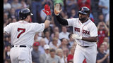 Boston Red Sox's Jackie Bradley Jr., right, is congratulated by Christian Vazquez (7) after his solo home run during the second inning of a baseball game against the Chicago White Sox at Fenway Park in Boston, Monday, June 24, 2019. (AP Photo/Charles Krupa)