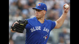 Toronto Blue Jays starting pitcher Clayton Richard winds up during the first inning of the team's baseball game against the New York Yankees, Tuesday, June 25, 2019, in New York. (AP Photo/Kathy Willens)