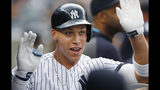 New York Yankees' Aaron Judge celebrates after hitting a solo home run during the first inning of the team's baseball game against the Toronto Blue Jays, Tuesday, June 25, 2019, in New York. It was Judge's first home run since returning from a stint on the injured list. (AP Photo/Kathy Willens)