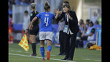 Italy's Aurora Galli, left, is congratulated by Italy head coach Milena Bertolini after scoring their side's second goal during the Women's World Cup round of 16 soccer match between Italy and China at Stade de la Mosson in Montpellier, France, Tuesday, June 25, 2019. (AP Photo/Claude Paris)