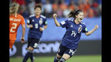 Japan's Yui Hasegawa celebrates after scoring her side's first goal during the Women's World Cup round of 16 soccer match between the Netherlands and Japan at the Roazhon Park, in Rennes, France, Tuesday, June 25, 2019. (AP Photo/David Vincent)