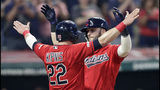 Cleveland Indians' Tyler Naquin, right, celebrates with Jason Kipnis after Naquin hit a two-run home run in the sixth inning of a baseball game against the Kansas City Royals, Tuesday, June 25, 2019, in Cleveland. Kipnis scored on the play. (AP Photo/Tony Dejak)