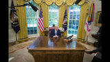 President Donald Trump speaks as he receives an an update on Fentanyl and the opioid epidemic, in the Oval Office of the White House in Washington, Tuesday, June 25, 2019. (AP Photo/Alex Brandon)