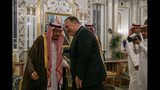 Secretary of State Mike Pompeo leans in to greet Saudi Arabia's King Salman during their meeting at Al-Salam Palace in Jiddah, Saudi Arabia, Monday, June 24, 2019. (AP Photo/Jacquelyn Martin, Pool)