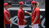 Los Angeles Angels' Shohei Ohtani, right, talks with pitching coach Doug White after throwing in the bullpen before a baseball game against the Cincinnati Reds in Anaheim, Calif., Wednesday, June 26, 2019. Ohtani threw off a mound for the first time since Tommy John surgery Oct 1, 2018. (AP Photo/Chris Carlson)