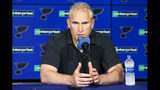 St. Louis Blues NHL hockey team head coach Craig Berube speaks during a press conference in St. Louis, Wednesday, June 26, 2019. Berube, who led the franchise to its first Stanley Cup title this season, signed a three year contract with the team on Tuesday, officially removing his interim title. (Colter Peterson/St. Louis Post-Dispatch via AP)