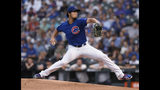 Chicago Cubs starter Yu Darvish delivers a pitch during the first inning of the team's baseball game against the Atlanta Braves on Wednesday, June 26, 2019, in Chicago. (AP Photo/Paul Beaty)