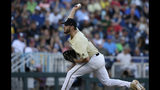 Vanderbilt pitcher Mason Hickman (44) prepares to throw against Michigan during the fourth inning in Game 3 of the NCAA College World Series baseball finals in Omaha, Neb., Wednesday, June 26, 2019. (AP Photo/Nati Harnik)