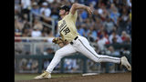 Vanderbilt's Jake Eder (39) prepares to throw against Michigan during the seventh inning in Game 3 of the NCAA College World Series baseball finals in Omaha, Neb., Wednesday, June 26, 2019. (AP Photo/Nati Harnik)