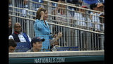 House Speaker Nancy Pelosi of Calif., cheers during the Congressional Baseball Game at Nationals Park in Washington, Wednesday, June 26, 2019. (AP Photo/Carolyn Kaster)