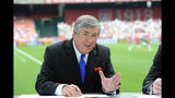 """In this June 2, 2013, photo provided by ESPN Images, Bob Ley talks during an international friendly soccer match in Washington, D.C. Ley, an anchor at ESPN since the network's launch 40 years ago, has announced his retirement. Ley was ESPN's longest-tenured anchor, joining """"SportsCenter"""" on the channel's third day of operation on Sept. 9, 1979. He hosted """"Outside The Lines,"""" an investigative news program, from its launch in 1990 until he took a sabbatical last September. The 64-year-old Ley tweeted Wednesday, June 26, 2019, that he's enjoying the """"best of health"""" and that the decision to retire was """"entirely"""" his own. (Allen Kee/ESPN Images via AP)"""