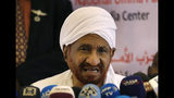Sadek al-Mahdi, who heads the Umma party, speaks during a news conference at his group headquarters, in Khartoum, Sudan, Wednesday, June 26, 2019. Al-Mahdi who leading Sudanese opposition figure says the African Union and Ethiopia have joined forces in renewed efforts to mediate the crisis in Sudan and bring the ruling generals and protest leaders back to the negotiating table.(AP Photo/Hussein Malla)