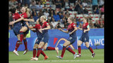 Norway players celebrate after winning the penalty shoot-out of the Women's World Cup round of 16 soccer match between Norway and Australia at the Stade de Nice in Nice, France, Saturday, June 22, 2019. Norway defeated Australia 4-1 in a penalty shoot out after the game ended 1-1. (AP Photo/Thibault Camus)
