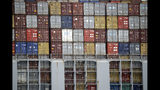 FILE - In this June 19, 2019, file photo cargo containers are stacked on a ship at the Port of Los Angeles in Los Angeles. On Thursday, June 27, the Commerce Department issues the third and final estimate of how the U.S. economy performed in the January-March quarter. (AP Photo/Marcio Jose Sanchez, File)