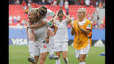 England players celebrate at the end of the Women's World Cup round of 16 soccer match between England and Cameroon at the Stade du Hainaut stadium in Valenciennes, France, Sunday, June 23, 2019. England beat Cameroon 3-0. (AP Photo/Michel Spingler)