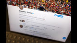 President Donald Trump's Twitter feed is photographed on an Apple iPad in New York, Thursday, June 27, 2019. Trump's next tweet might come with a warning label. Starting Thursday tweets that Twitter deems in the public interest, but which violate the service's rules, will be obscured by a warning explaining the violation. Users will have to tap through the warning to see the underlying message. (AP Photo/J. David Ake)