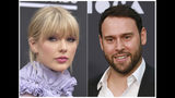 """This combination photo shows Taylor Swift at the Billboard Music Awards at the MGM Grand Garden Arena in Las Vegas on May 1, 2019, left, and Scooter Braun at the 2019 MOCA benefit in Los Angeles on May 18, 2019. Braun's Ithaca Holdings acquired Big Machine Label Group, home to Swift's first six albums, including the Grammy winners for album of the year, 2008's """"Fearless"""" and 2014's """"1989."""" (Photos by Richard Shotwell, left, and Mark Von Holden/Invision/AP)"""