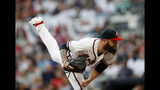 Atlanta Braves starting pitcher Dallas Keuchel works against the Philadelphia Phillies during the second inning of a baseball game Tuesday, July 2, 2019, in Atlanta. (AP Photo/John Bazemore)