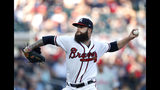 Atlanta Braves starting pitcher Dallas Keuchel works in the first inning of the team's baseball game against the Philadelphia Phillies on Tuesday, July 2, 2019, in Atlanta. (AP Photo/)
