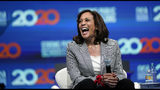 Democratic presidential candidate Sen. Kamala Harris, D-Calif., laughs during the National Education Association Strong Public Schools Presidential Forum Friday, July 5, 2019, in Houston. (AP Photo/David J. Phillip)