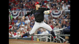 Miami Marlins starting pitcher Jordan Yamamoto works in the second inning of a baseball game against the Miami Marlins on Friday, July 5, 2019, in Atlanta. (AP Photo/John Bazemore)
